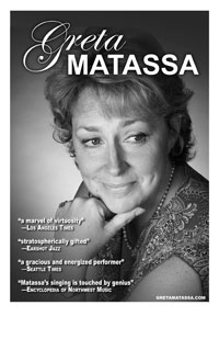 Black and white poster of Greta Matassa